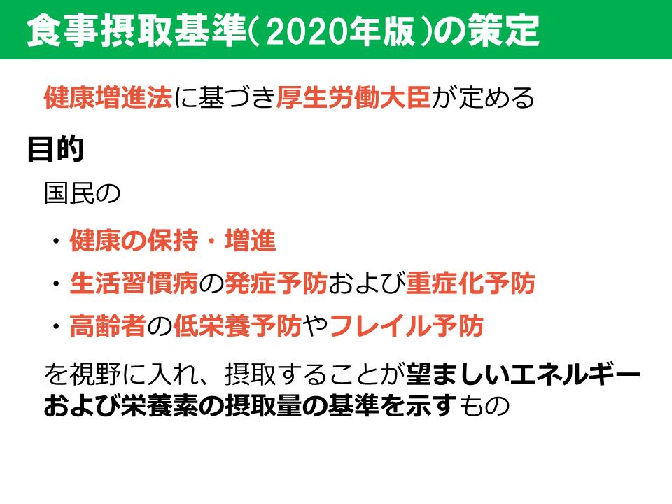 食事摂取基準2020年版_策定方針